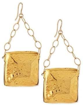 Devon Leigh Gold-Dipped Square Medallion Earrings
