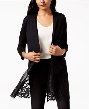 Alfani Open-Front Lace-Hem Midi Cardigan, Created for Macy's