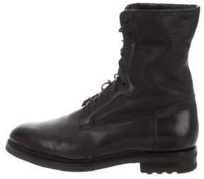 Santoni Leather Combat Boots