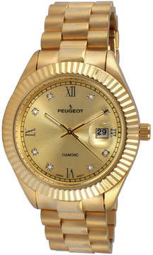 Peugeot Men's Gold Tone Stainless Steel Calendar Bracelet Watch 1053CH