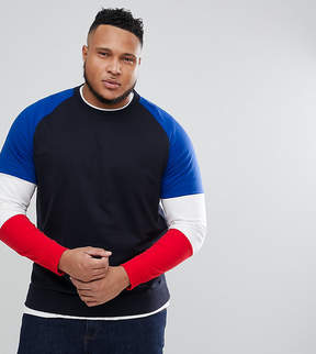 ONLY & SONS PLUS Crew Neck Sweat With Contrast Color Block Sleeves
