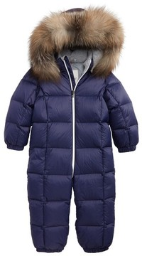 Moncler Infant Girl's Jean Down Bunting With Genuine Fox Fur Trim