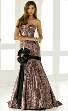 Blush Lingerie Strapless Printed Long Gown with Black Ribbon Accent 9284