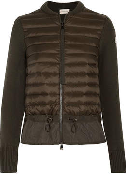 Moncler Quilted Shell And Ribbed-knit Cardigan - Dark green