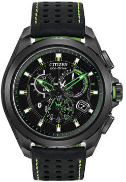 Citizen Men's Proximity Eco-Drive Bluetooth Black Stainless Leather Strap Watch