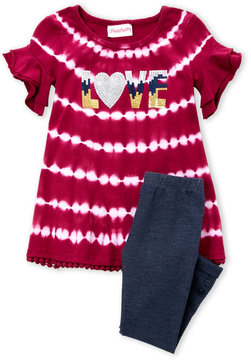 Flapdoodles Toddler Girls) Two-Piece Sequin Tie-Dye Top & Cuffed Jeggings