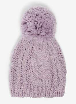 Dorothy Perkins Lilac Cable Knit Beanie Hat