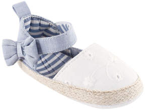 Luvable Friends Chambray & White Bow Espadrille - Girls