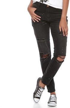 Almost Famous Juniors' Paint Splatter Ripped Skinny Jeans