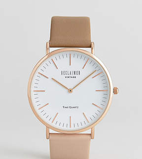 Reclaimed Vintage Inspired Two Tone Leather Watch In Brown Exclusive To ASOS