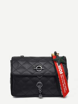 Shein Slogan Ribbon Quilted Shoulder Bag