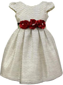 Sorbet Striped Taffeta Dress w/Rosettes, Size 7-12