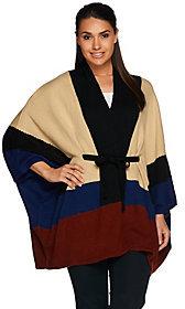 C. Wonder As Is Color Block Belted Knit V-neck Poncho