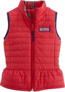 Vineyard Vines Girls Reversible Plaid Peplum Vest (2T-4T)