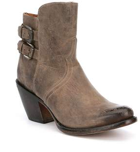 Lucchese Catalina Leather Buckle Detail Booties