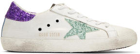 Golden Goose Deluxe Brand White Glitter Superstar Sneakers
