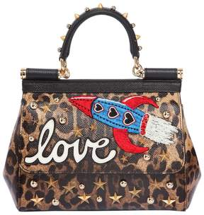 Dolce & Gabbana Small Sicily Love Leather Top Handle Bag