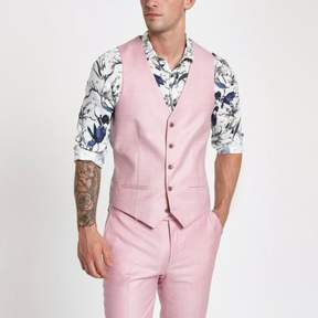 River Island Mens Pink single-breasted vest