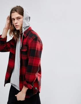 DC Runnel Flannel Checked Shirt With Hood