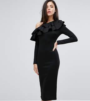 Club L One Shoulder Frill Detail Long Sleeve Midi Dress