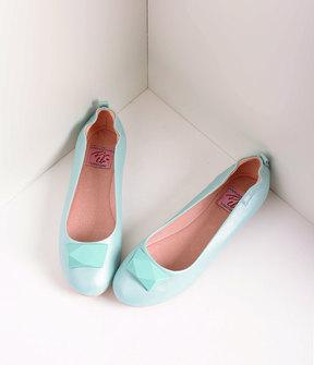 Unique Vintage Vintage Style Aqua Blue Leatherette & Geometric Gem Ballet Flats Shoes