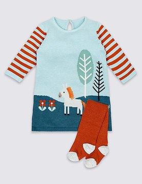 Marks and Spencer 2 Piece Knitted Baby Dress with Tights