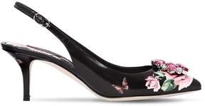 Dolce & Gabbana 60mm Floral Leather Sling Back Pumps