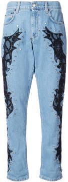 Moschino lace detail boyfriend jeans