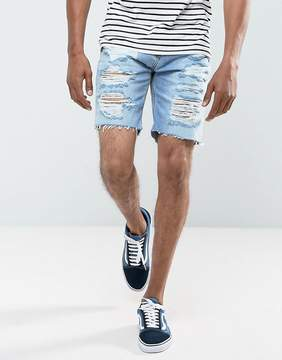 Pull&Bear Denim Shorts With Rips In Bleach Wash