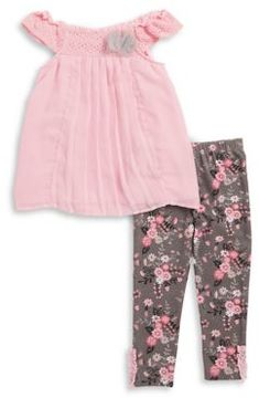 Nannette Girl's Chiffon Top and Floral Leggings Set