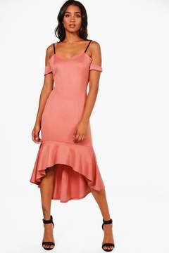 boohoo Lola Cold Shoulder Flute Hem Midi Dress