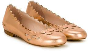 Chloé Kids scallop trim ballerinas