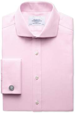 Charles Tyrwhitt Slim Fit Spread Collar Non-Iron Herringbone Light Pink Cotton Dress Shirt French Cuff Size 15/35