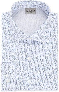 Kenneth Cole Reaction Men's Slim-Fit Flex Collar Three-Way Stretch Performance Printed Dress Shirt