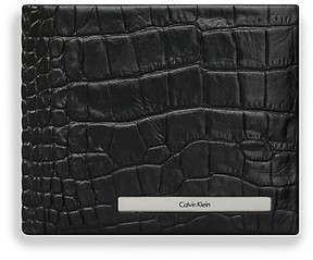 Calvin Klein Croco Embossed Coin Pocket Leather Wallet