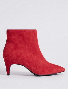 Marks and Spencer Wide Fit Suede Kitten Ankle Boots