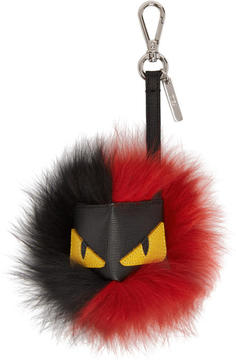 Fendi Black and Red Bag Bugs Fur Keychain
