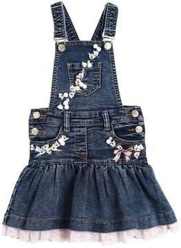MonnaLisa Floral Embellished Denim Overall Dress