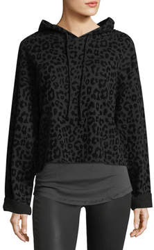 RtA Marvin Hooded Leopard-Print Sweatshirt