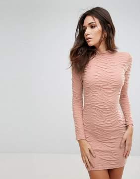 AX Paris Ruched Textured Bodycon Dress