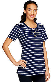 Denim & Co. Perfect Jersey Short SleeveStriped Henley