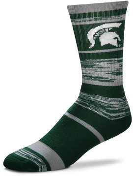 For Bare Feet Adult Michigan State Spartans RMC Stripe Crew Socks