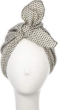 Black & White Cotton Jacquard Tie Turban Lolita