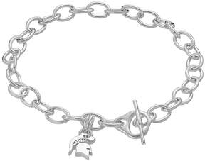 Dayna U Sterling Silver Michigan State Spartans Charm Toggle Bracelet