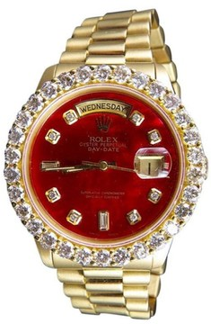 Rolex President Day-Date 18K Yellow Gold Red Dialt 5.5ct. Diamond Mens Watch