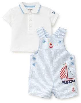 Little Me Baby Boy's Two-Piece Sailboat Cotton Polo and Shortall Set