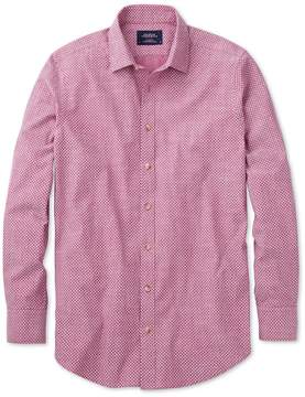 Charles Tyrwhitt Slim Fit Berry Red and White Spot Print Cotton Casual Shirt Single Cuff Size XS