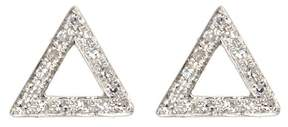 Ef Collection 14K White Gold Pave Diamond Open Triangle Stud Earrings - 0.09 ctw
