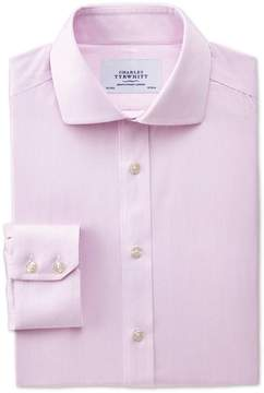 Charles Tyrwhitt Slim Fit Spread Collar Non-Iron Mouline Stripe Pink Cotton Dress Shirt Single Cuff Size 15.5/37