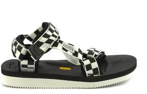 Suicoke Depa-v2chk Black And White Nylon Sandals.